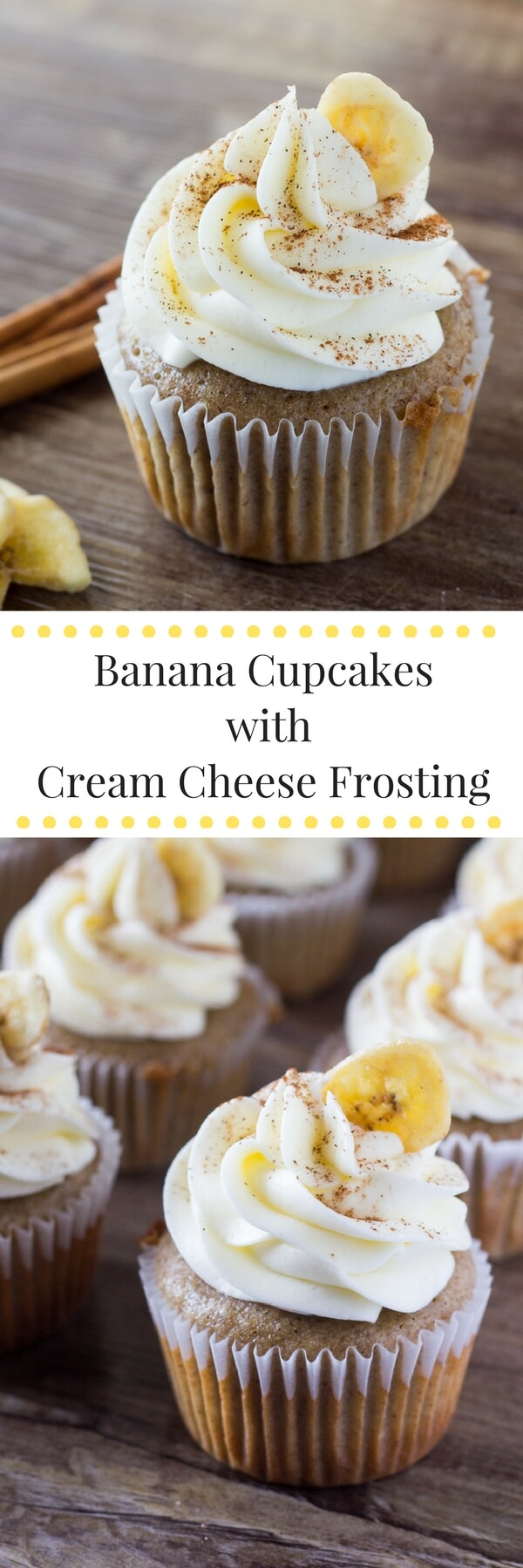 Banana Cupcakes with Cream Cheese Frosting. Light, fluffy, super moist with a classic banana flavor and topped with cream cheese frosting