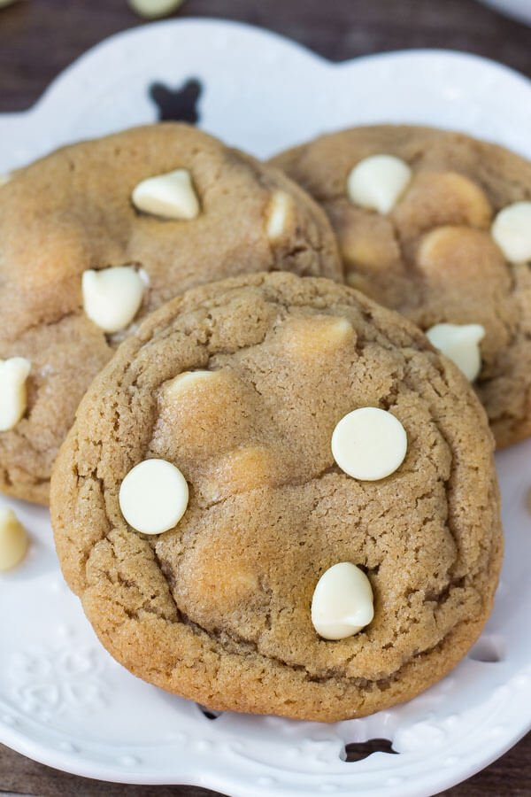 Plate of 3 peanut butter white chocolate chip cookies.
