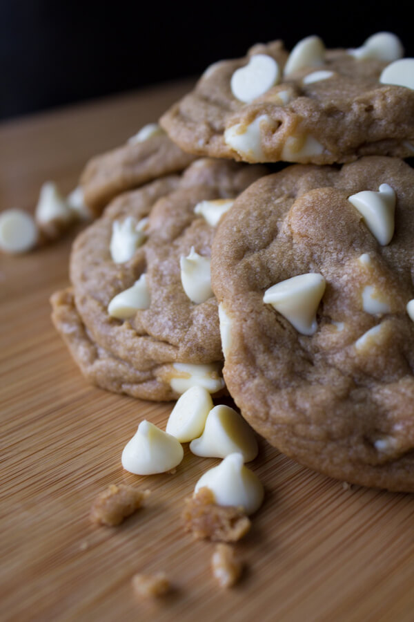 Peanut Butter White Chocolate Chip Cookies - Soft, chewy, and the perfect combo of sweet and salty – they taste just like biting into a white chocolate peanut butter cup! www.justsotasty.com