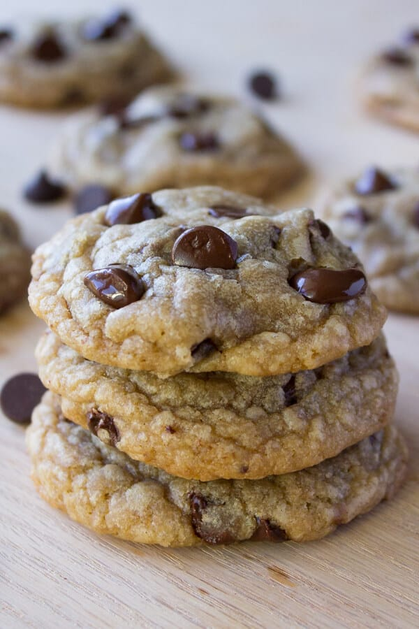 Chocolate Chip Cookies. Ultra chewy, soft, thick, buttery & oozing with chocolate chips - these cookies are perfection.