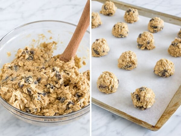 Collage photo showing oatmeal raisin cookie dough in a bowl and oatmeal raisin cookie dough formed into balls and placed on a lined baking sheet.