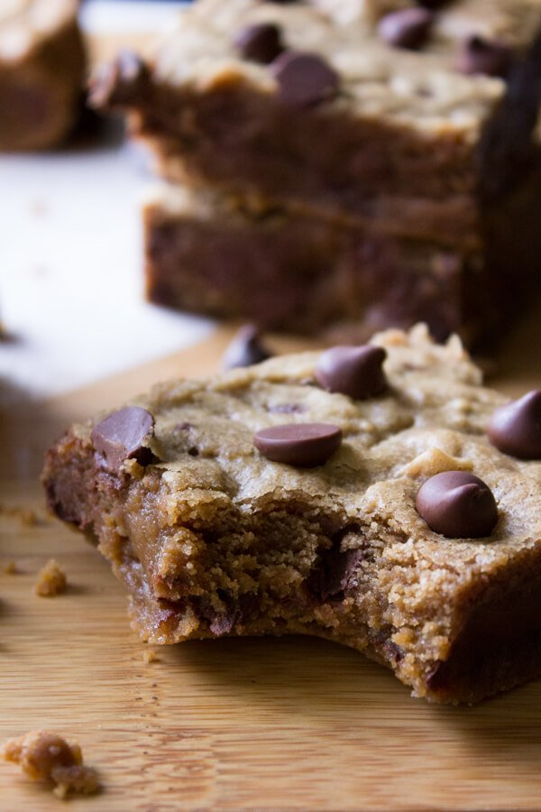 Peanut Butter Blondies. Fudgy, chewy peanut butter blondies filled with chocolate chips.