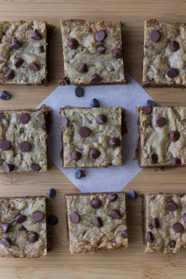 Peanut Butter Blondies. Fudgy, chewy peanut butter blondies filled with chocolate chips. www.justsotasty.com