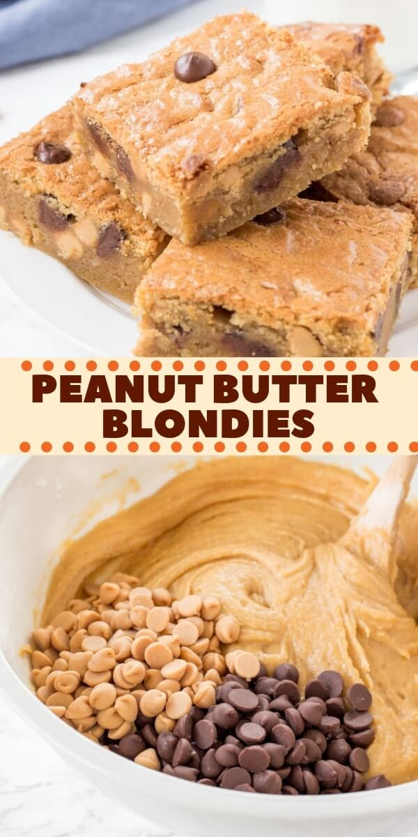 This soft and chewy Peanut Butter Blondies have a delicious peanut butter flavor and plenty of peanut butter chips. They're made in 1 bowl with no mixer - and taste delicious with a cold glass of milk.#peanutbutterblondies #peanutbutter #blondies #easy #recipes