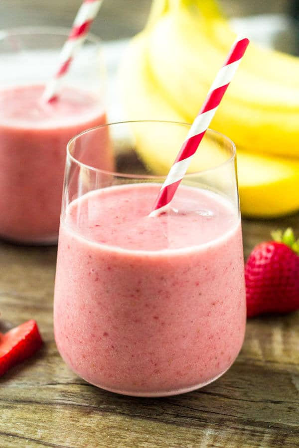 This strawberry banana smoothie is thick, creamy and filled with delicious strawberry flavor. It's made with only 3 ingredients, and you can use fresh or frozen berries.