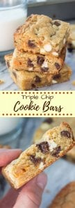 In between a blondie & a cookie - these Triple Chip Cookie Bars are fudgy, chewy, filled with chocolate chips. Made in one bowl with no mixer,