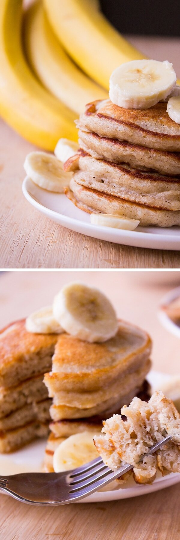 Light & Fluffy Banana Pancakes. These are like banana bread in pancake form. Super moist, filled with vanilla & cinnamon flavor - Start your morning with this easy recipe! www.justsotasty.com