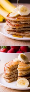 Banana Pancakes. Light & fluffy, these banana pancakes are the perfect combo of banana bread & buttermilk pancakes. Start your morning with this easy recipe!