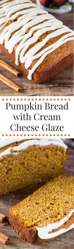 Pumpkin Bread with Cream Cheese Glaze. Soft, moist & filled with vanilla & spices - this pumpkin bread is perfect for fall!