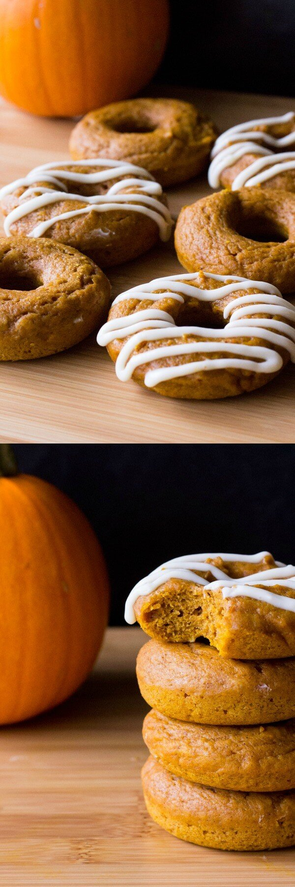 These baked pumpkin doughnuts with cream cheese glaze are the perfect fall treat. Ready in 30 minutes start to finish