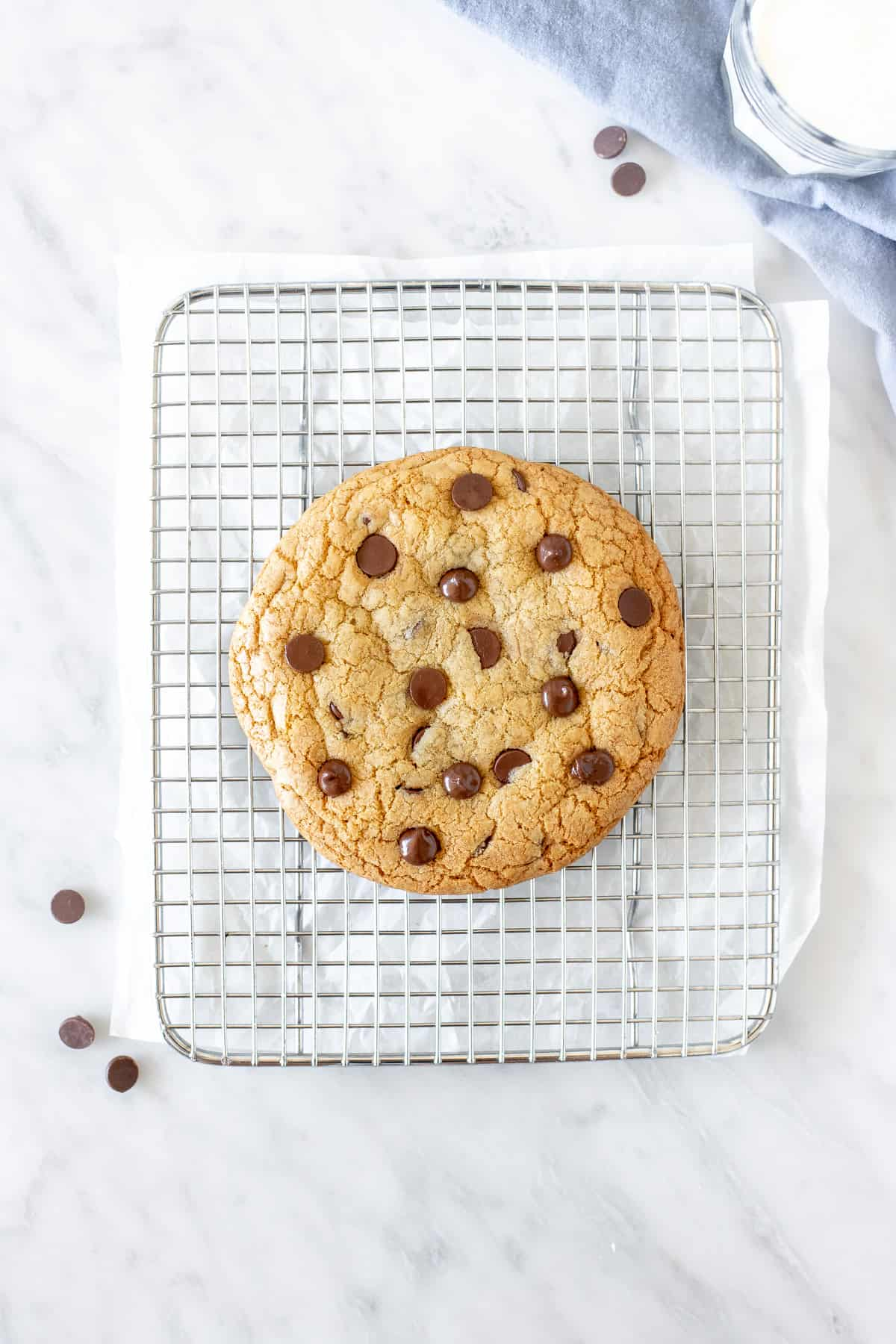 Chocolate chip cookie for one a cooling rack