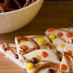 Salty & Sweet Halloween Peanut Butter Pretzel Bark. Completely addictive - this super easy recipe is a total crowd favorite!