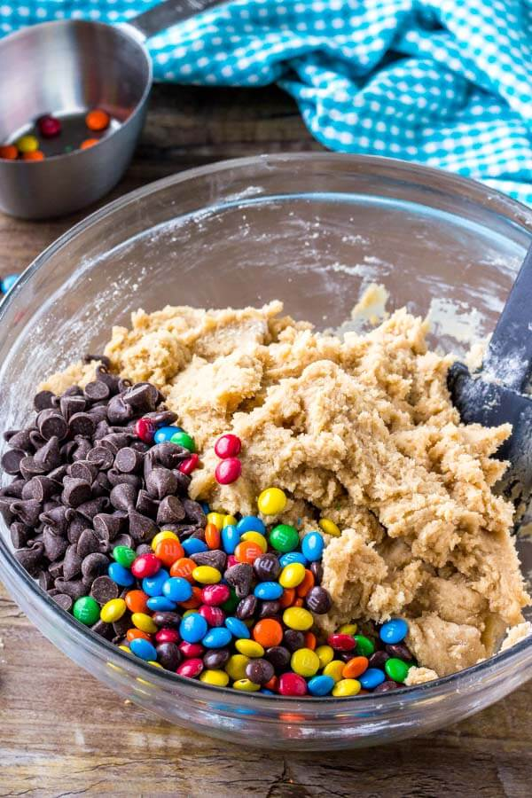 M&M Cookie Recipe - made with butter and shortening for extra soft cookies.