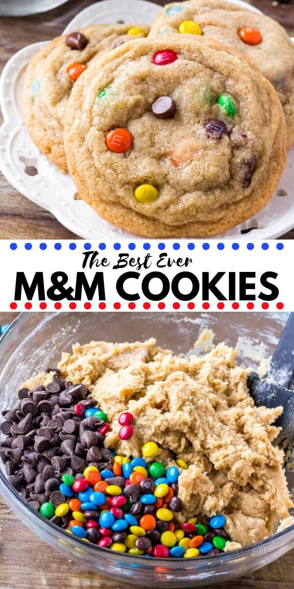 These M&M Cookies will soon become your new favorite. They're soft, chewy & packed with M&Ms for the perfect treat. Easy, no chill, & the absolute best M and M cookies around! #cookies #M&Mcookies #M&M #easy #kids #baking