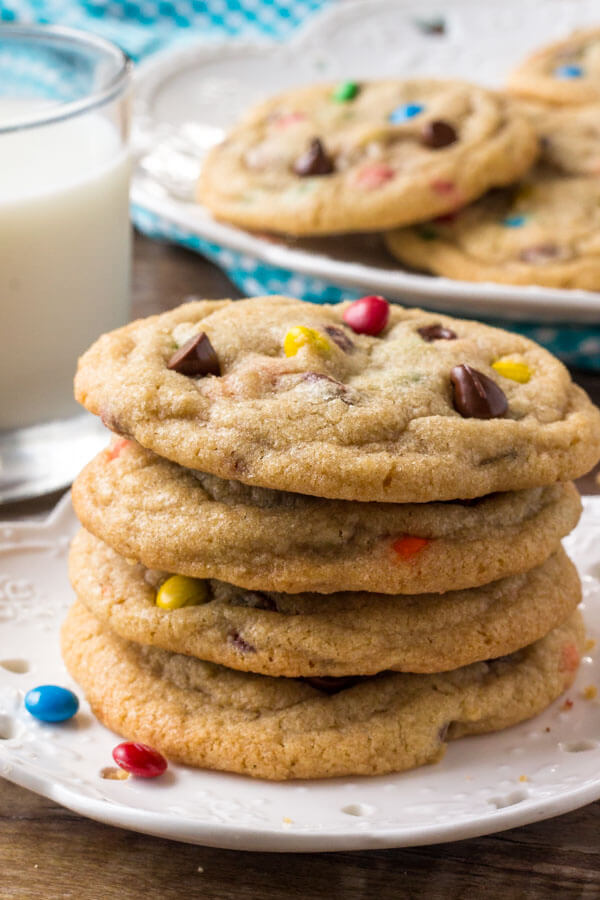 A stack of M&M Chocolate Chip Cookies - the best M and M cookies