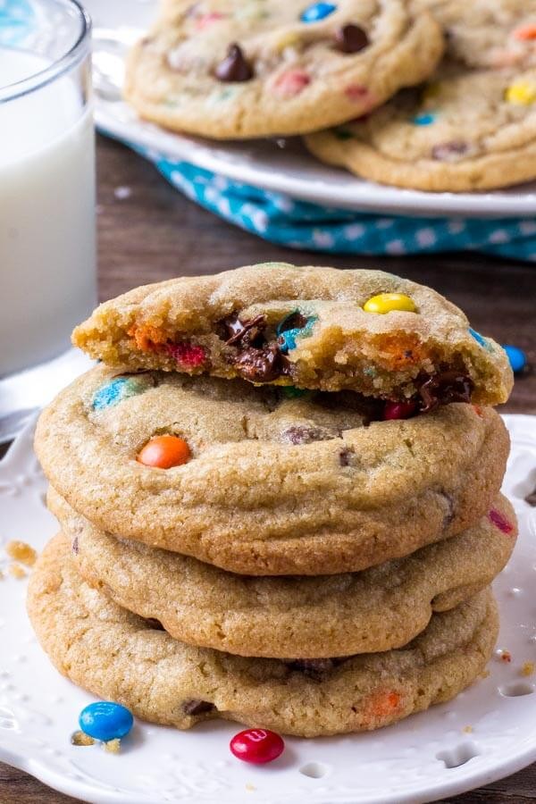 M&M cookies are thick, chewy, extra soft & filled with candies.