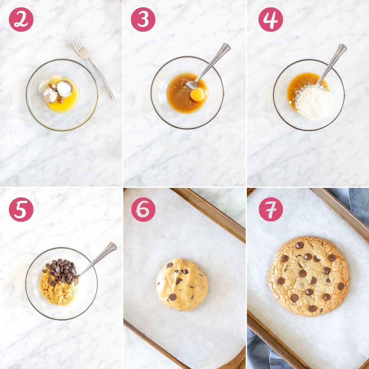 Collage of step by step photos of making a cookie