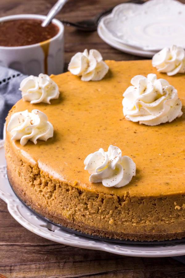 Pumpkin cheesecake recipe - learn all the tricks to making a smooth, creamy pumpkin spice cheesecake.