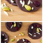 Delicious Dark Chocolate Fruit & Nut Clusters with pistachios, almonds, dried cranberries and raisins. Ready in minutes and so pretty, they make a great gift too!