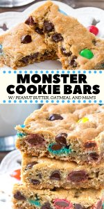 These Monster Cookie Bars are everything you could want - soft, chewy, extra thick and filled with peanut butter, oatmeal, chocolate chips and M&Ms. It's an easy cookie bar recipe that's faster than making a batch of cookies and impossible to resist.  #monstercookies #cookiebars #peanutbutter #oatmeal #easy #recipes #monstercookiebars