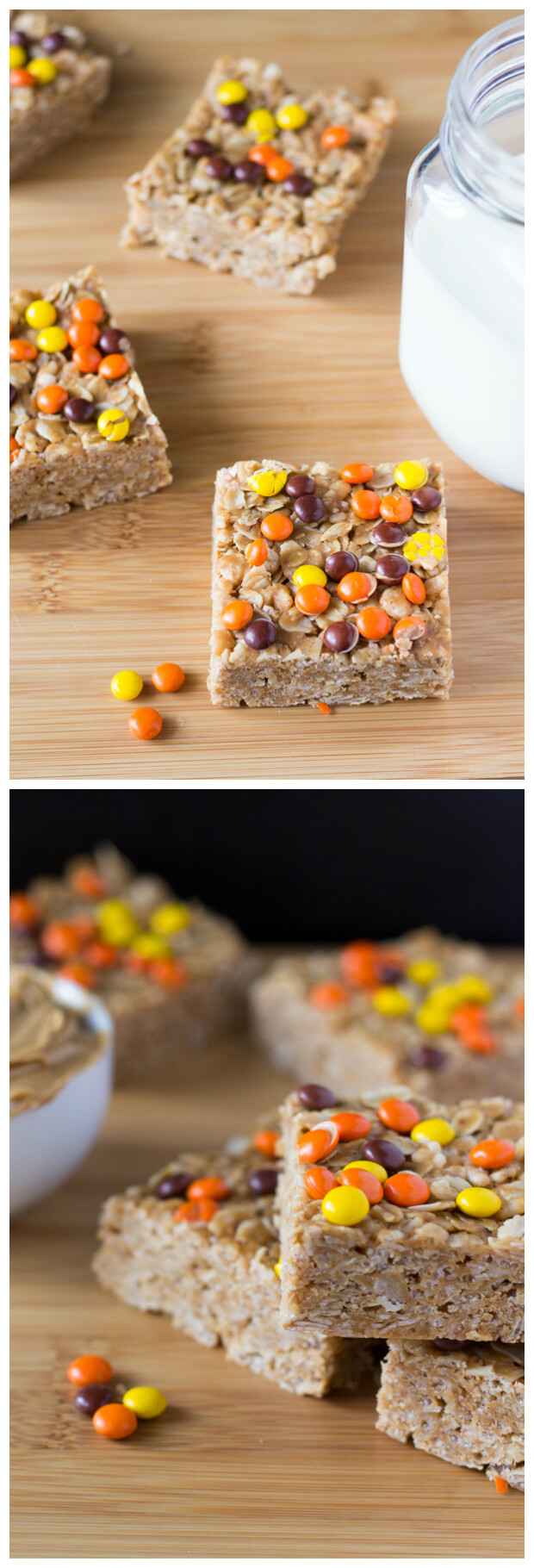 Make these super easy & super delicious Peanut Butter Granola Bars. Topped with Reese's Pieces - kids & adults will love these treats.