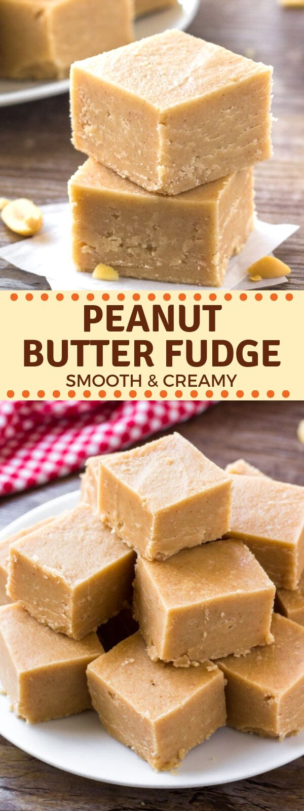 Smooth & creamy peanut butter fudge that melts in your mouth. Ready in minutes, 5 ingredients and no candy thermometer required - add this easy recipe to your holiday baking list! #fudge #peanutbutter #holidays #christmas #easy #homemade #candy