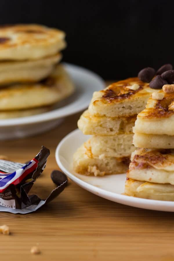 Super fluffy, diner-style pancakes filled with Snickers bars. Because clearly - you can't go wrong with pancakes and your favorite candy bar.