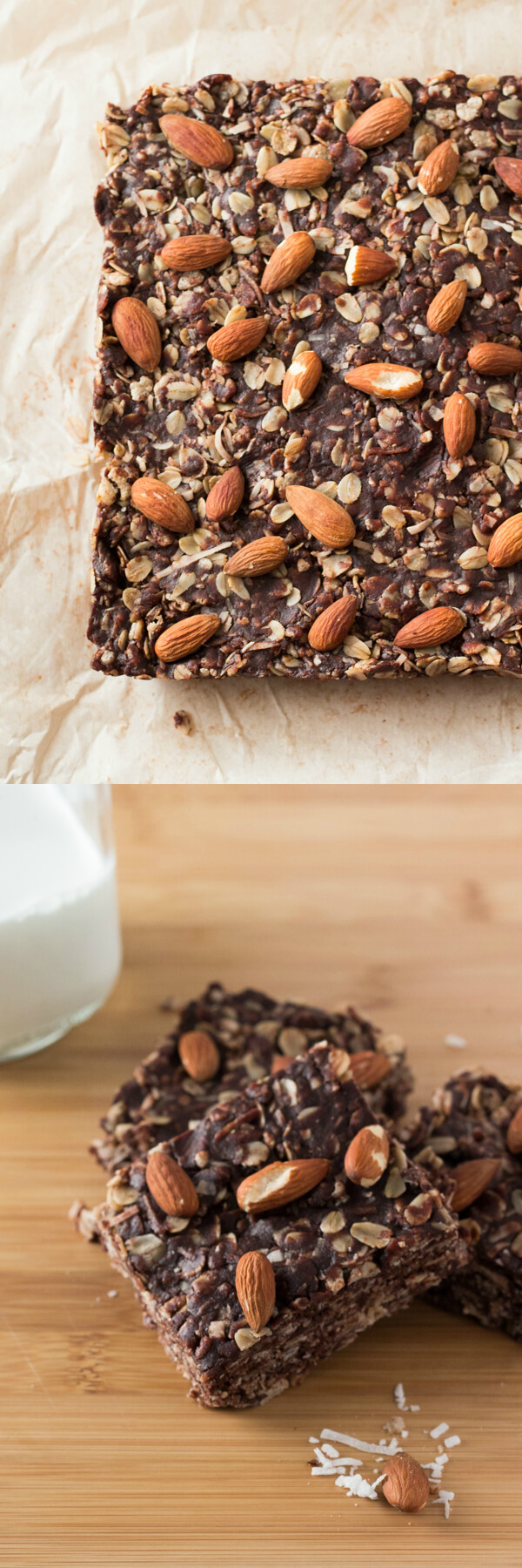Almonds, coconut & chocolate come together in these delicious Almond Joy Granola Bars. Wholesome ingredients, gluten-free, vegan, super easy and totally addictive! www.justsotasty.com