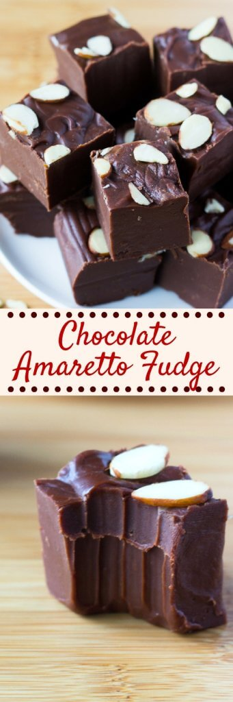 Smooth, creamy, decadent Chocolate Amaretto Fudge is the perfect grown-up dessert. Infused with a hint of almond, it's deliciously rich and decadent. #chocolatefudge #amarettofudge #chocolatealmondfudge