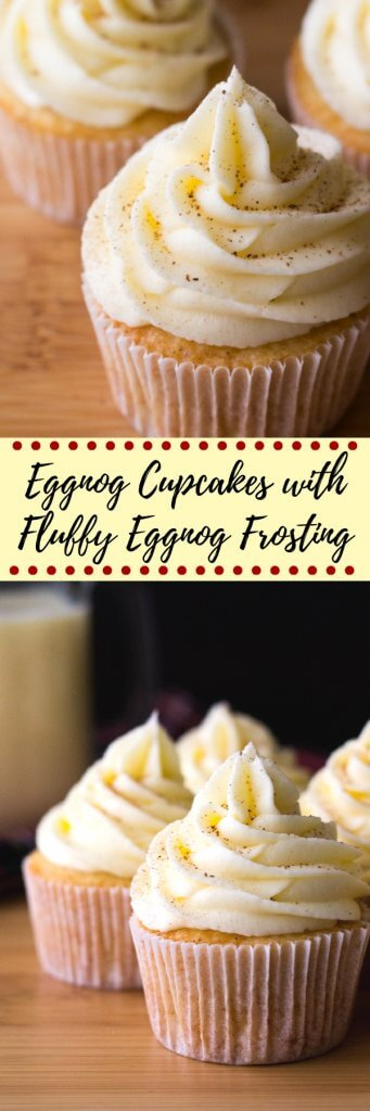 Light & fluffy Eggnog Cupcakes piled high with Eggnog Buttercream. Christmas in cupcake form! #eggnogcupcakes #eggnogfrosting #christmascupcakes #eggnogrecipes