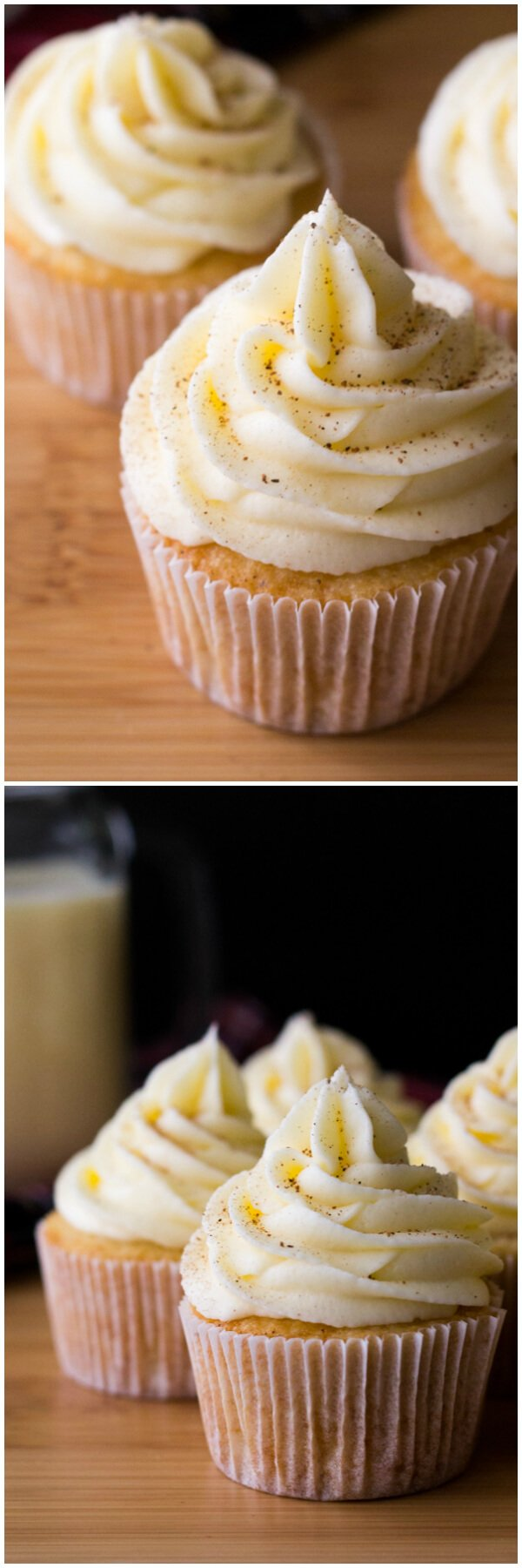Light & fluffy Eggnog Cupcakes piled high with Eggnog Buttercream. Perfect for a holiday party, or present to yourself! www.justsotasty.com