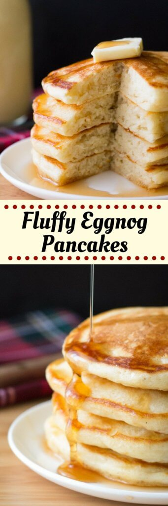 These thick, fluffy Eggnog Pancakes are the perfect for holiday breakfast for eggnog lovers. Don't wait til Christmas for these delicious pancakes! #eggnogpancakes #eggnog #christmasrecipes