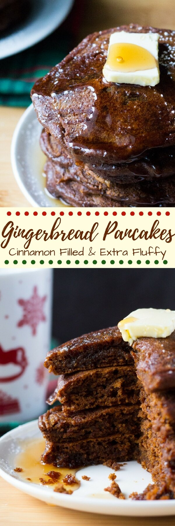 Filled with spices, super fluffy & perfectly moist - these easy Gingerbread Pancakes are the ultimate breakfast for the holidays! #gingerbreadpancakes #christmasbreakfast #holidaypancakes #gingerbread