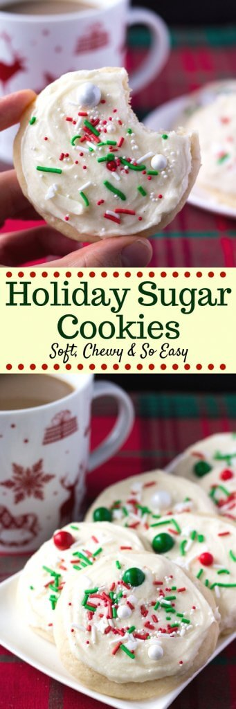 Soft, thick, melt-in-your mouth sugar cookies with smooth & creamy frosting. So delicious and no pesky decorating required, Santa loves these soft batch frosted sugar cookies! #sugarcookies #holidaycookies #frostedsugarcookies
