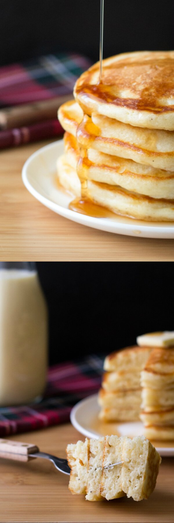 These thick, fluffy Eggnog Pancakes are perfect for holiday breakfasts. Don't wait til Christmas for these delicious pancakes! www.justsotasty.com