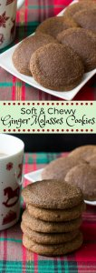 The softest, chewiest ginger molasses cookies. With brown sugar, molasses & lots of spices - this easy recipe is perfect for the holidays! #gingermolassescookies #gingercookies