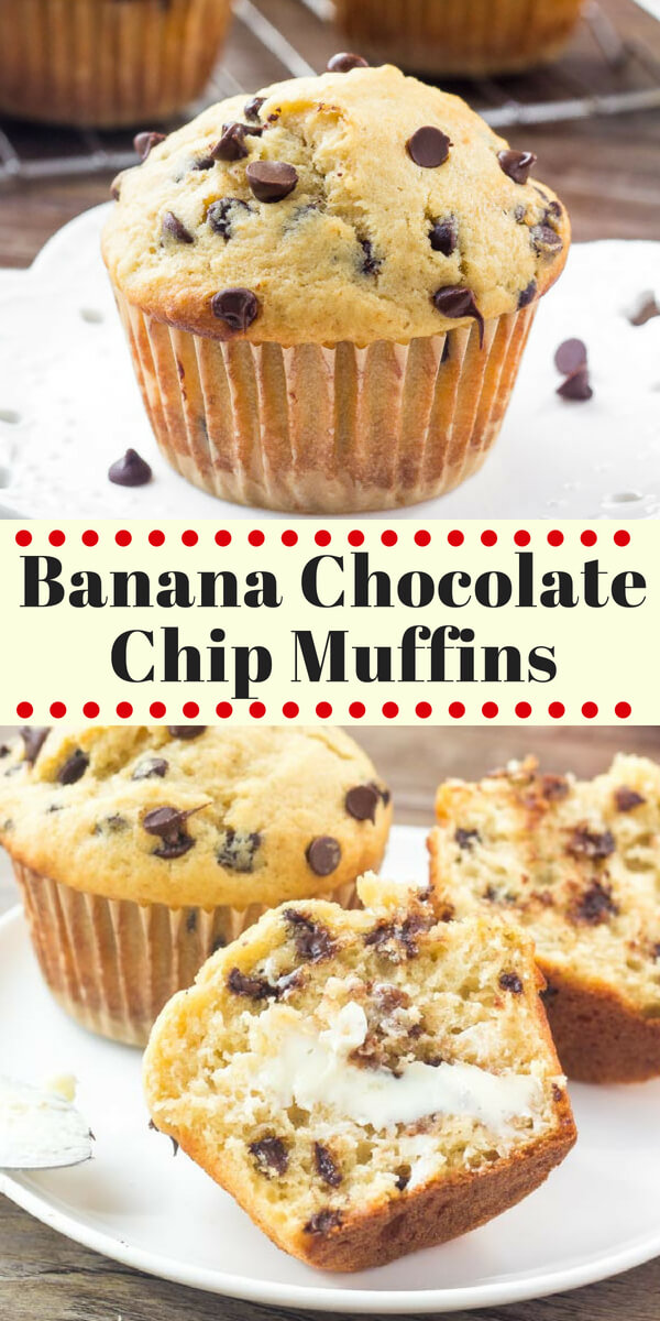 These Banana Chocolate Chip Muffins are moist, fluffy, buttery and filled with chocolate chips. They taste like a warm slice of banana bread and have perfectly domed, golden muffin tops. #bananas #muffins #bananabread #bananarecipes #chocolatechipmuffins