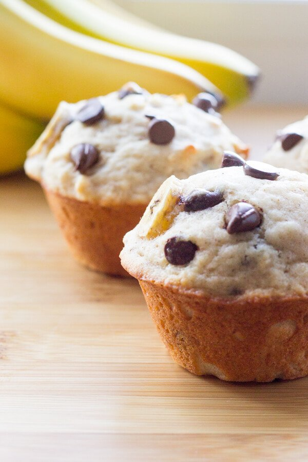 Banana bread taste - but in light, fluffy, buttery muffin form. Then fill them with chocolate and these Banana Chocolate Chip Muffins are breakfast perfection.