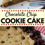 If you like giant chocolate chip cookies that are extra soft, super chewy, and maybe even a little gooey - then this cookie cake is for you. #chocolatechipcookies #cookiecake #chocolatechips #recipes