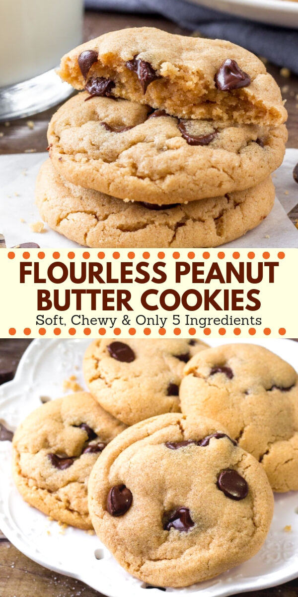 These flourless peanut butter cookies are soft, chewy and big on peanut butter. It's an easy peanut butter cookie recipe that only requires a few simple ingredients - so you likely have everything in your pantry already. Quick, easy & perfect for true peanut butter lovers! #peanutbutter #cookies #glutenfree #flourless #easy #recipes #peanutbuttercookies