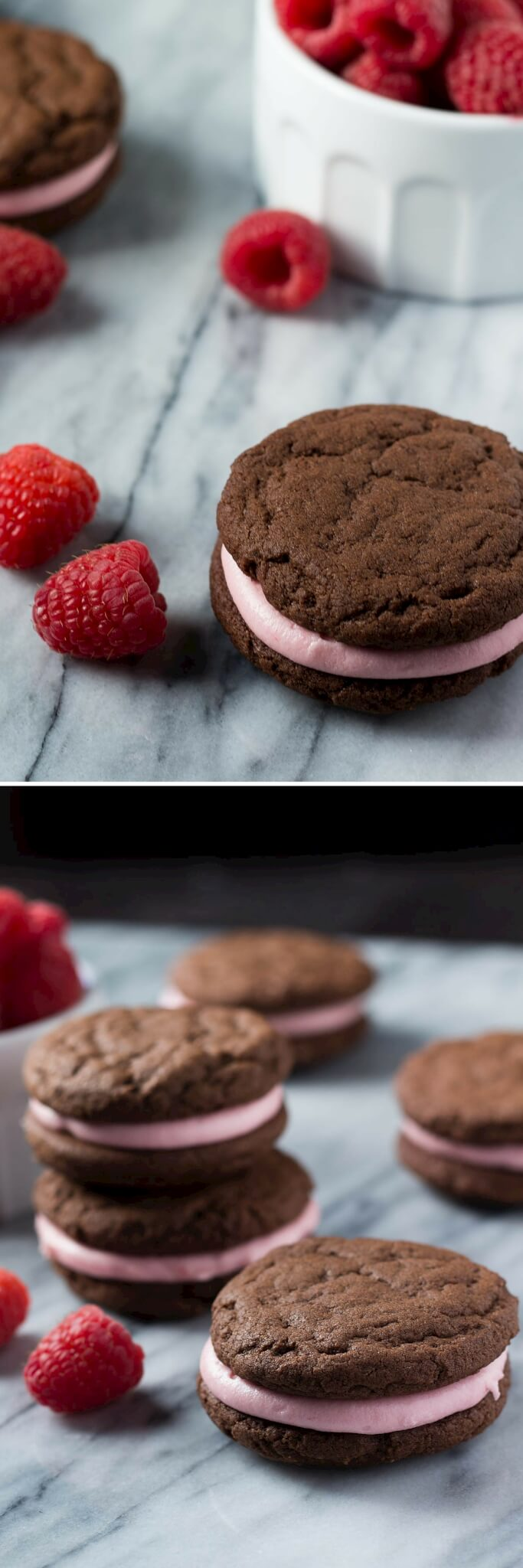 Creamy raspberry frosting sandwiched between two soft & fudgy chocolate cookies. These sandwich cookies are the perfect recipe for Valentine's!