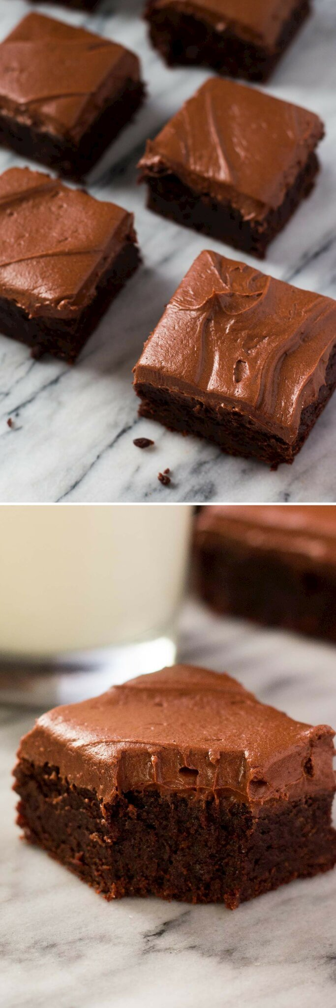 Fudge Brownies with Chocolate Frosting - Just So Tasty