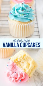 These easy vanilla cupcakes are moist and fluffy with a delicious buttery, vanilla flavor. Topped with creamy vanilla buttercream - they're perfect for birthdays and celebrations. #vanillacupcakes #cupcakes #easy #homemade #moist #frosting #vanilla #fromscratch #birthdays