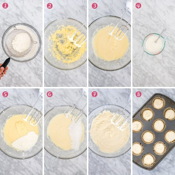 8 step-by-step photos of making vanilla cupcake batter.