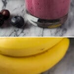 Super healthy, 4 ingredient Berry Pomegranate Smoothie. Made with Greek yogurt & banana - you'll love this healthy, flu-fighting breakfast!