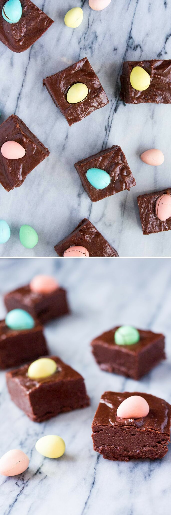 Creamy, smooth Easter Chocolate Fudge that's super easy to make & so pretty. You'll love that this recipe using marshmallow cream only takes 10 minutes!