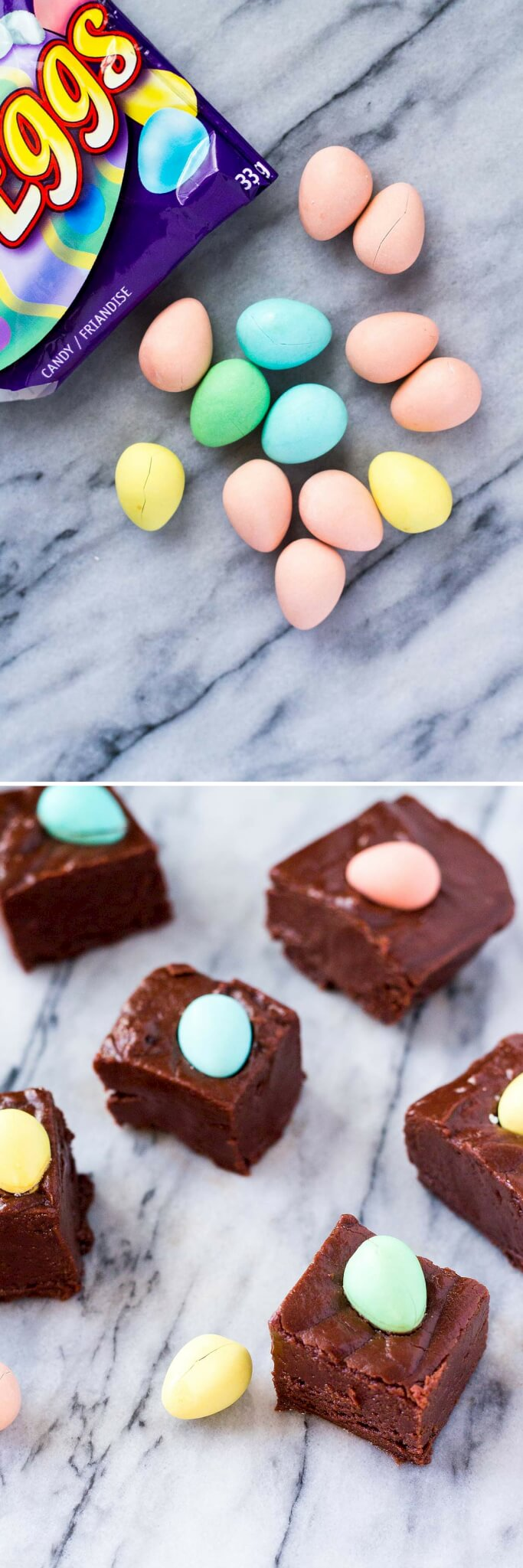 Creamy, smooth chocolate fudge that's super easy to make & perfect for Easter. You'll love that it only takes 10 minutes!