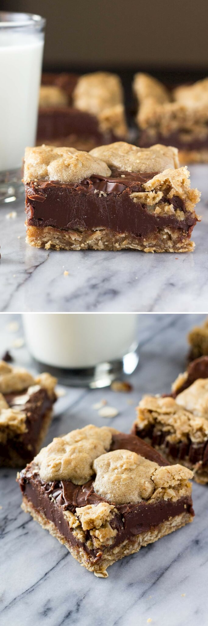 Chewy oatmeal cookie and creamy chocolate come together in these Oatmeal Fudge Bars. So easy to make, and so much better than the Starbucks version!