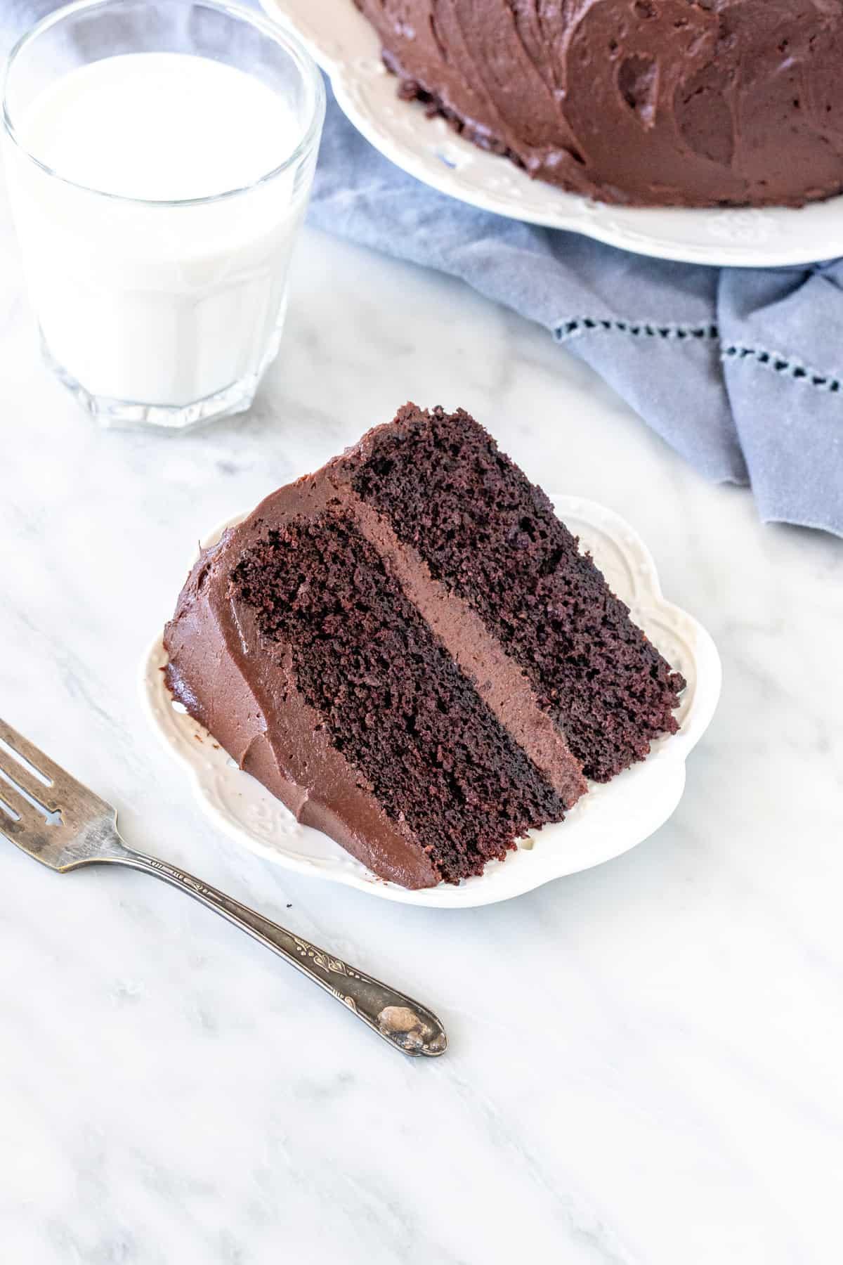 Slice of chocolate cake with chocolate buttercream.