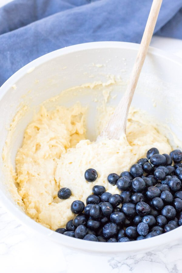 Lemon blueberry muffin batter in a bowl.